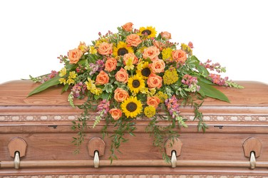 Heaven's Sunset Casket Spray from Monrovia Floral in Monrovia, CA
